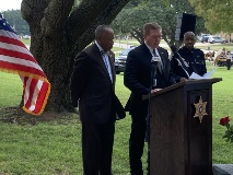 Bossier City Mayor Tommy Chandler and Shreveport CAO Henry Whitehorn present a joint resolution in observance of Peace Officer Memorial Day.