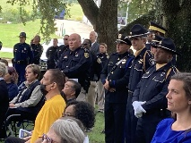 A large gathering on the lawn of the Bossier Parish Courthouse observed ceremonies honoring peace officers who died in the line of duty.