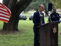 Bossier Parish Sheriff Julian Whittington addresses the crowd.